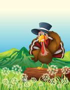 A turkey above the trunk across the mountain - stock illustration