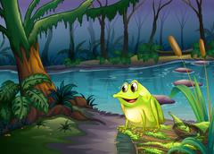 Stock Illustration of A frog above a trunk with algae