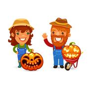 Farmers With Halloween Pumpkins - stock illustration