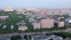 City landscape with MSU main building, multi-storey buildings Stock Footage