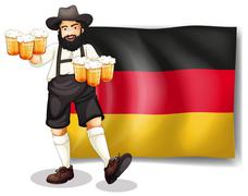 A man holding a beer in front of a flag - stock illustration