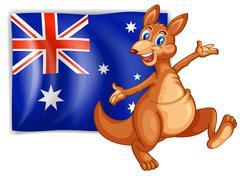 A kangaroo presenting the flag of Australia Stock Illustration