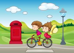 A boy and a girl biking Piirros