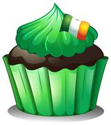 A green cupcake with the flag of Ireland - stock illustration