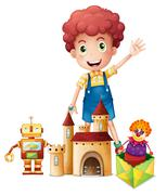 A boy waving his hand with toys Stock Illustration