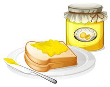 A bread with a sandwich spread Stock Illustration