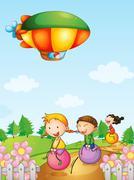 Three kids playing below an airship - stock illustration