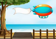 An aircraft at the beach with an empty signage Stock Illustration