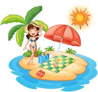 A girl at the beach under the scorching heat of the sun Stock Illustration