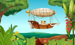 An airship flying with two young girls - stock illustration