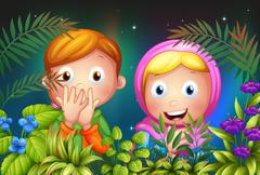 Stock Illustration of A young girl and boy hiding in the garden