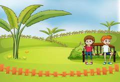 A couple dating at the park - stock illustration