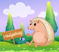 A hedgehog beside a wooden signage - stock illustration