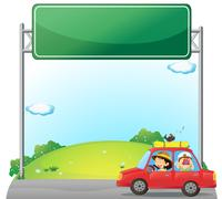 A car driven by a woman near an empty signage - stock illustration