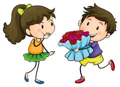 Stock Illustration of A boy giving his girlfriend a bouquet of flowers