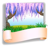 An empty template in front of the hill with big trees Stock Illustration
