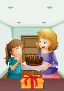 A girl wishing before blowing her birthday cake - stock illustration
