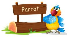 A wooden signage with a colorful bird - stock illustration