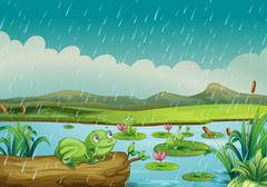Three frogs enjoying the raindrops Stock Illustration