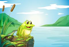Stock Illustration of A trunk at the river with a frog