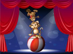 A beaver and a monkey perfoming on the stage Stock Illustration