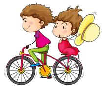 A girl and a boy riding in a fast moving bike Piirros