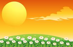 Stock Illustration of A sunset scene