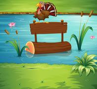 A turkey above a floating trunk at the river - stock illustration