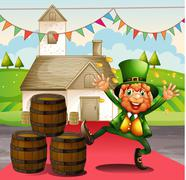 An old man in a green attire beside the barrels Stock Illustration