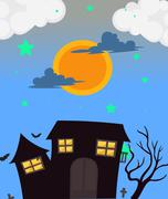 A full moon and the haunted house Stock Illustration
