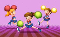 Stock Illustration of The three energetic cheerdancers