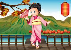 A girl in a kimono attire at the bridge - stock illustration