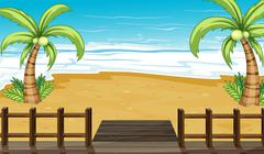 Stock Illustration of A view of the seaside with coconut trees