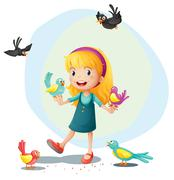 A girl playing with the birds Piirros