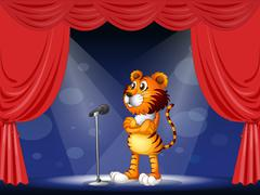 A tiger in the stage Stock Illustration