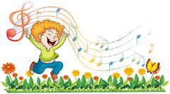 A boy dancing in the garden with musical notes Stock Illustration