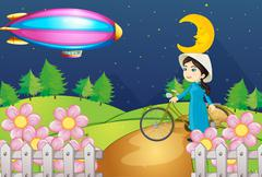 A woman with a bike and the stripe airship - stock illustration