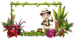 Stock Illustration of A boy sitting at the trunk