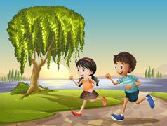 Two kids running together Stock Illustration