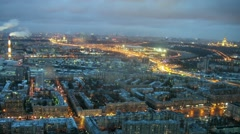 Cityscape with illumination at evening in Moscow, time lapse. Stock Footage