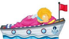 A girl sleeping in a ship with a pink blanket Stock Illustration