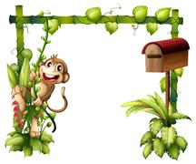 A monkey swinging beside a wooden mailbox Stock Illustration