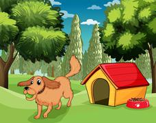 Stock Illustration of A dog playing outside a dog house