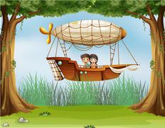 Kids riding in an airship - stock illustration