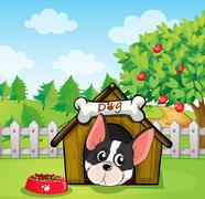 A dog inside a dog house at a backyard with an apple tree - stock illustration