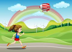 Stock Illustration of A girl running in the road and an airship above her