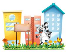 A lemur beside an empty signage at the garden Stock Illustration