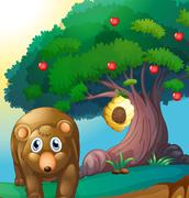 A bear and an apple tree with a beehive Stock Illustration