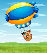 A stripe airship carrying a group of kids - stock illustration