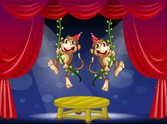 Two monkeys performing at the  stage Stock Illustration